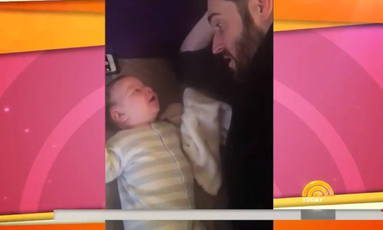 """Μυστήριο: Μωρό 3 μηνών είπε """"hello"""" στο μπαμπά του; (vid)"""