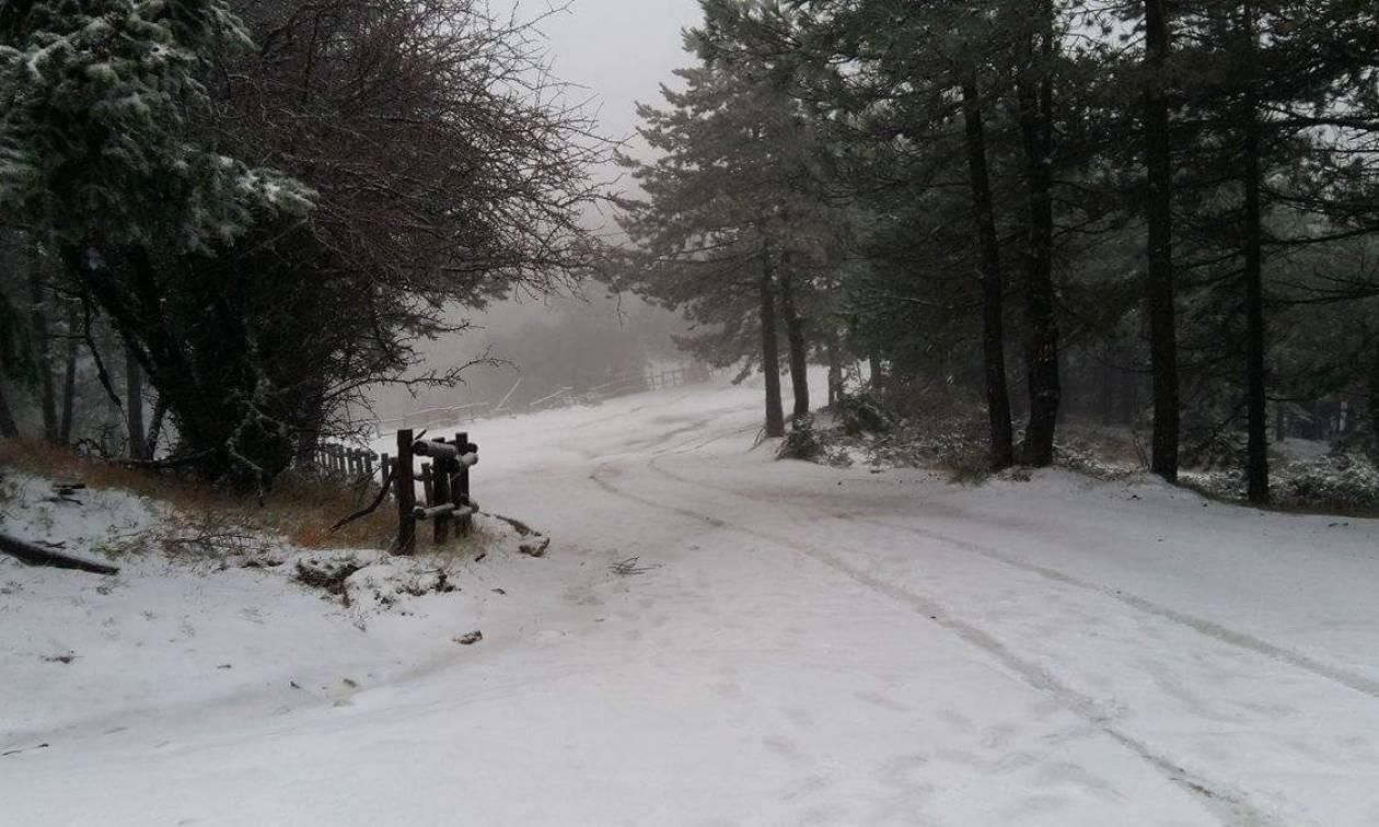 Καιρός τώρα - Χιονίζει στην Πάρνηθα – Δείτε LIVE εικόνα