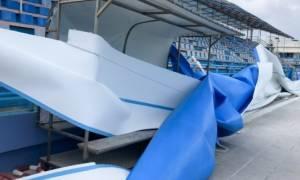 Κακοκαιρία: Ζημιές στο κολυμβητήριο των Χανίων προκάλεσαν οι ισχυροί άνεμοι