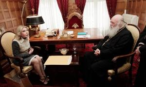 Με τον Αρχιεπίσκοπο Ιερώνυμο συναντήθηκε η Μαριάννα Βαρδινογιάννη (pics)