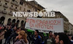 Θεσσαλονίκη: Συγκέντρωση και πορεία των αγροτών στο κέντρο της πόλης (pics)