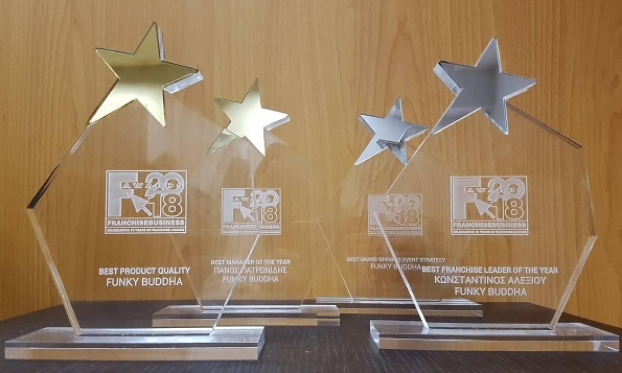 Η Funky Buddha απέσπασε τέσσερα βραβεία στα Franchise Business Awards '18