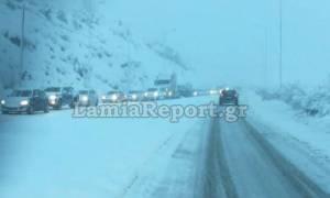 Καιρός: Σφοδρή χιονόπτωση από Λαμία μέχρι Τρίκαλα - Μάχη για να μην κλείσει ο δρόμος προς Δομοκό