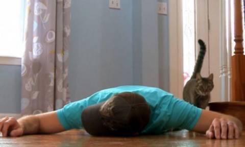 Άνδρας κάνει πως πεθαίνει για να δει την αντίδραση της γάτας του (video)