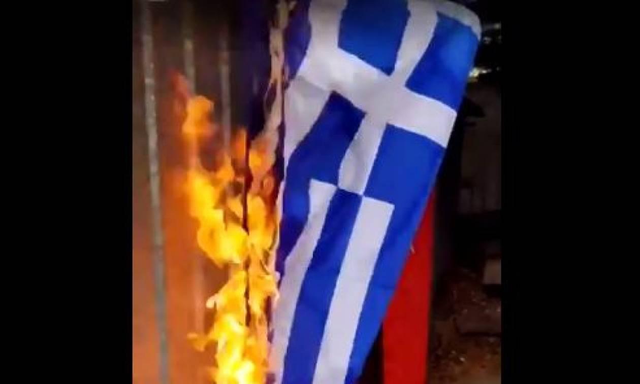 Οι φωτογραφίες της οργής: Σκοπιανοί και Τούρκοι καίνε Ελληνικές σημαίες! (pics &vid)