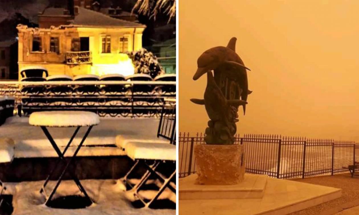 Ο καιρός… τρελάθηκε! Χιονίζει στη βόρεια Ελλάδα – Σαχάρα η Κρήτη
