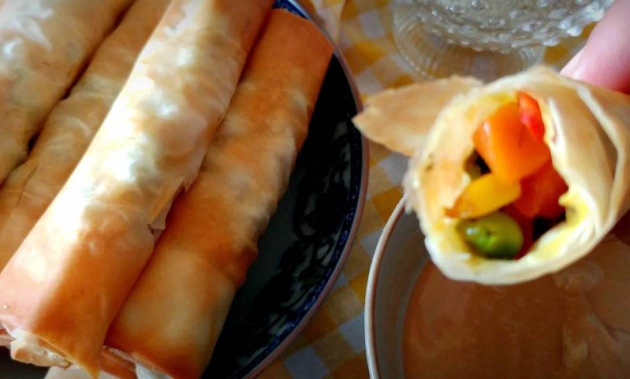 Ρολάκια λαχανικών (spring rolls) & dip ταχινιού