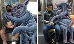 Ρούμπιν: Ο σκιτσογράφος που ζωγραφίζει «τέρατα» δίπλα σε ανυποψίαστους επιβάτες του μετρό (Pics)
