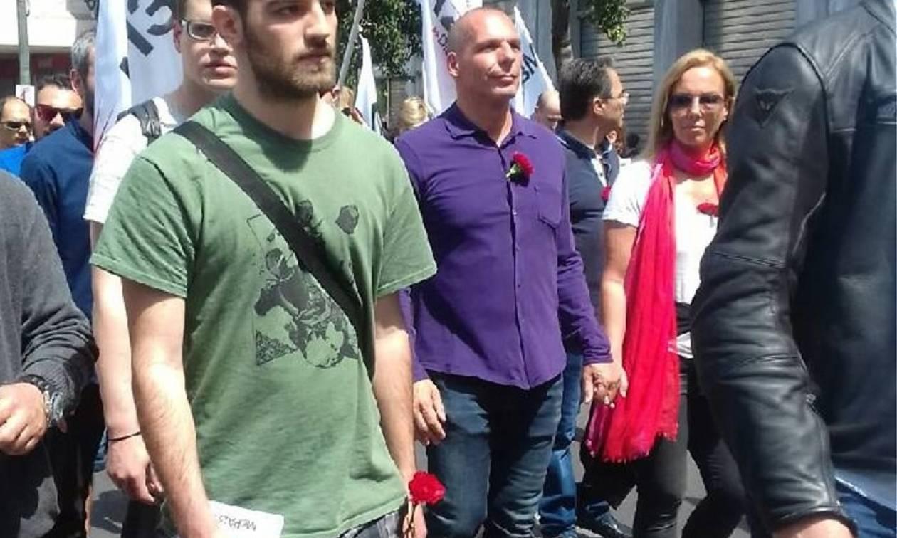 Πρωτομαγιά 2018: Ο Βαρουφάκης με τη Δανάη Στράτου στην πορεία για την εργατική Πρωτομαγιά