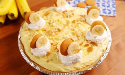 Πεντανόστιμο cheesecake με μπανάνα και κρέμα βανίλιας