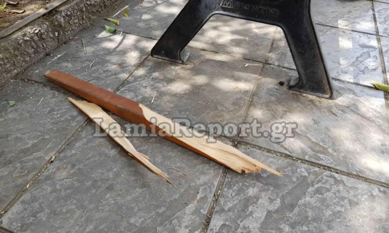 Λαμία: Άγριο ξύλο με καδρόνια στο κέντρο της πόλης (pics)