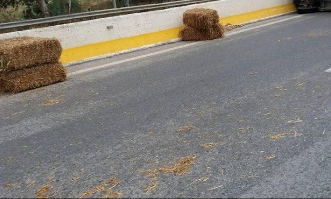 Ηράκλειο: Και ξαφνικά ο δρόμος γέμισε... σανό (pics)