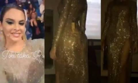 Η Ρία Αντωνίου ολόγυμνη μέσα στο «χρυσό» φόρεμά της (vids)