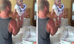 Μωρό ισορροπεί στην παλάμη του μπαμπά του και μας κόβει την ανάσα (video)
