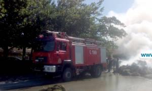 Τρικάλα: Φορτηγό με φλεγόμενες «μπάλες» από χορτάρι πέρασε μέσα από χωριό (vid)