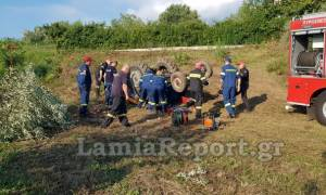 Λαμία: Αγρότης καταπλακώθηκε από το τρακτέρ του (vid)
