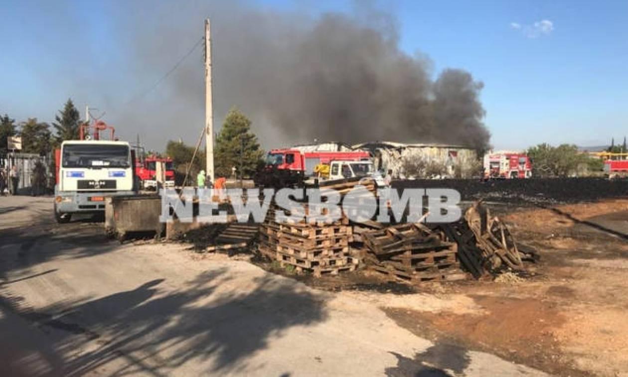Φωτιά Αχαρνές: Υπό έλεγχο η πυρκαγιά σε αποθήκη - Αποκλειστικές εικόνες του Newsbomb.gr