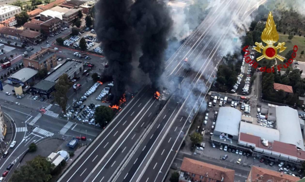 Φρικτό τροχαίο δυστύχημα με εκρήξεις στην Μπολόνια: Ένας νεκρός, δεκάδες τραυματίες (pics+vids)