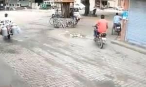 Μήνυμα προς μοτοσικλετιστές: Προσοχή στους αδέσποτους ταύρους! (vid)