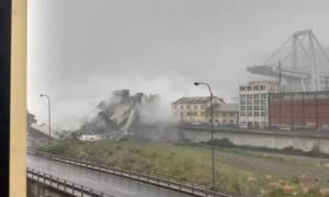 Βίντεο σοκ: Καρέ - καρέ η κατάρρευση της γέφυρας στη Γένοβα