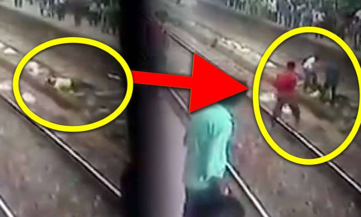 Σώζουν άντρα από τις ράγες του τρένου λίγο πριν αυτοκτονήσει (vid)