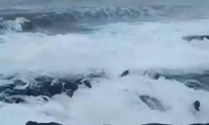 Χανιά: Αίσιο τέλος για τουρίστες που παρασύρθηκαν από κύματα