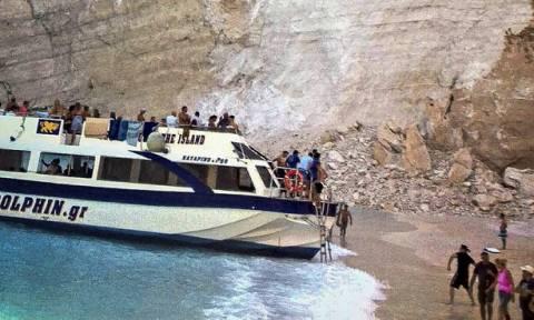 В Греции в бухте Навагио обрушилась скала, пострадали 7 человек