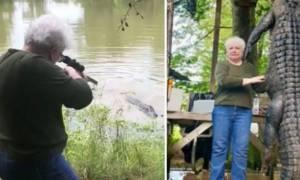 Αλιγάτορας 300 κιλών τρώει το άλογο μίας γιαγιάς - Eκείνη τον «καθαρίζει» με το ντουφέκι της (vid)