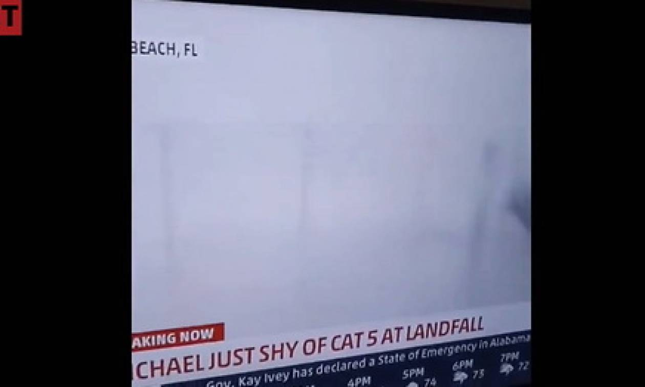 Η μανία του τυφώνα Μάικλ «σαρώνει» δημοσιογράφο σε Live μετάδοση (video)
