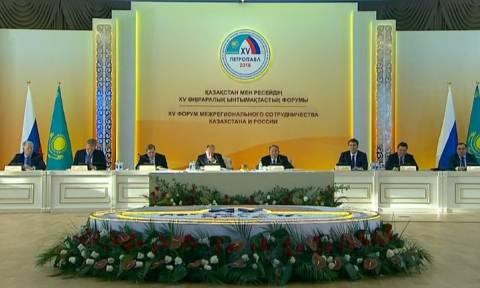 Путин участвует в Форуме межрегионального сотрудничества РФ и Казахстана.