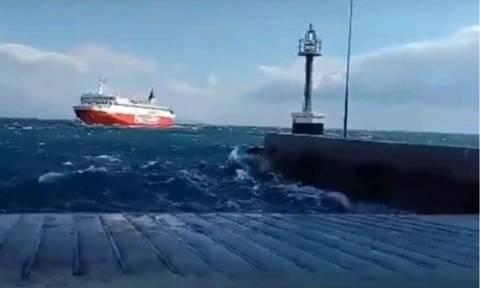 Βίντεο: Η τρομερή «μάχη» καπετάνιου με τα κύματα και η απίστευτη μανούβρα για να δέσει στη Ραφήνα