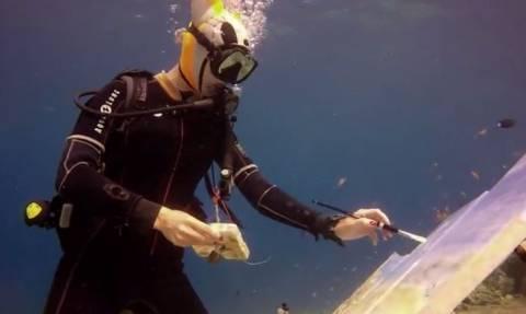 Η καλλιτέχνης που ζωγραφίζει… κάτω απ' το νερό (vid)