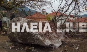 Ηλεία: Παρολίγο τραγωδία - Έπεσε μεγάλος βράχος πάνω σε εκκλησία (pics)